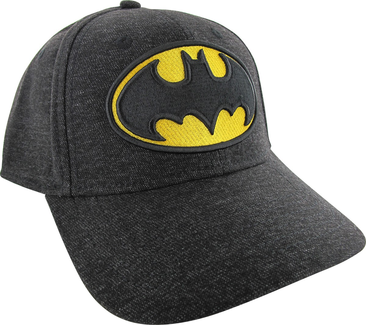 batman embroidered logo heathered black flex hat