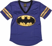 Batman Foil Logo Mesh Jersey Ladies Tee