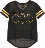 Batman Foil Logo V Neck Mesh Juniors T-Shirt