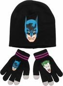Batman Joker Reversible Youth Beanie Gloves Set