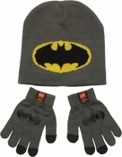 Batman Logo Youth Beanie Gloves Set