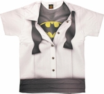 Batman Under Tuxedo Logo Sublimated T Shirt Sheer