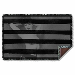 Bettie Page Black Stripes Throw Blanket