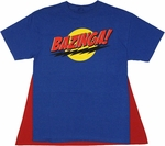 Big Bang Theory Bazinga Blue Caped T Shirt