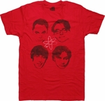 Big Bang Theory Four Heads Red T Shirt Sheer