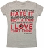 Big Bang Theory Love Hate List Baby Tee