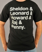 Big Bang Theory Names T Shirt