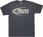 Bud Light Logo Heather Navy T Shirt Sheer