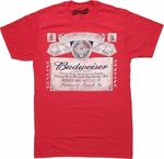 Budweiser Black and White Label Heather Red T Shirt Sheer