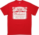 Budweiser White Label on Red T Shirt