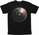 Captain America Battered Shield T Shirt
