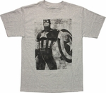 Captain America Contrast Text T Shirt