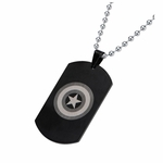 Captain America Grayscale Logo Dog Tag Necklace