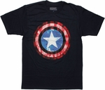 Captain America Gritty Shield Logo T Shirt Sheer