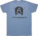 Captain America Hashtag LivingLegend T Shirt Sheer