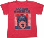 Captain America Head Flag Burnout Juvenile T Shirt