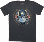 Captain America Head Foil Vintage T Shirt Sheer