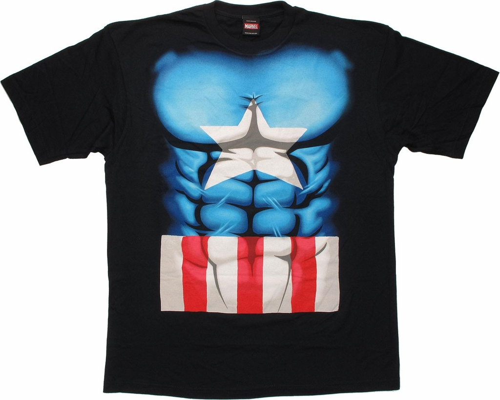 Captain America Midnight Abs T Shirt Sheer