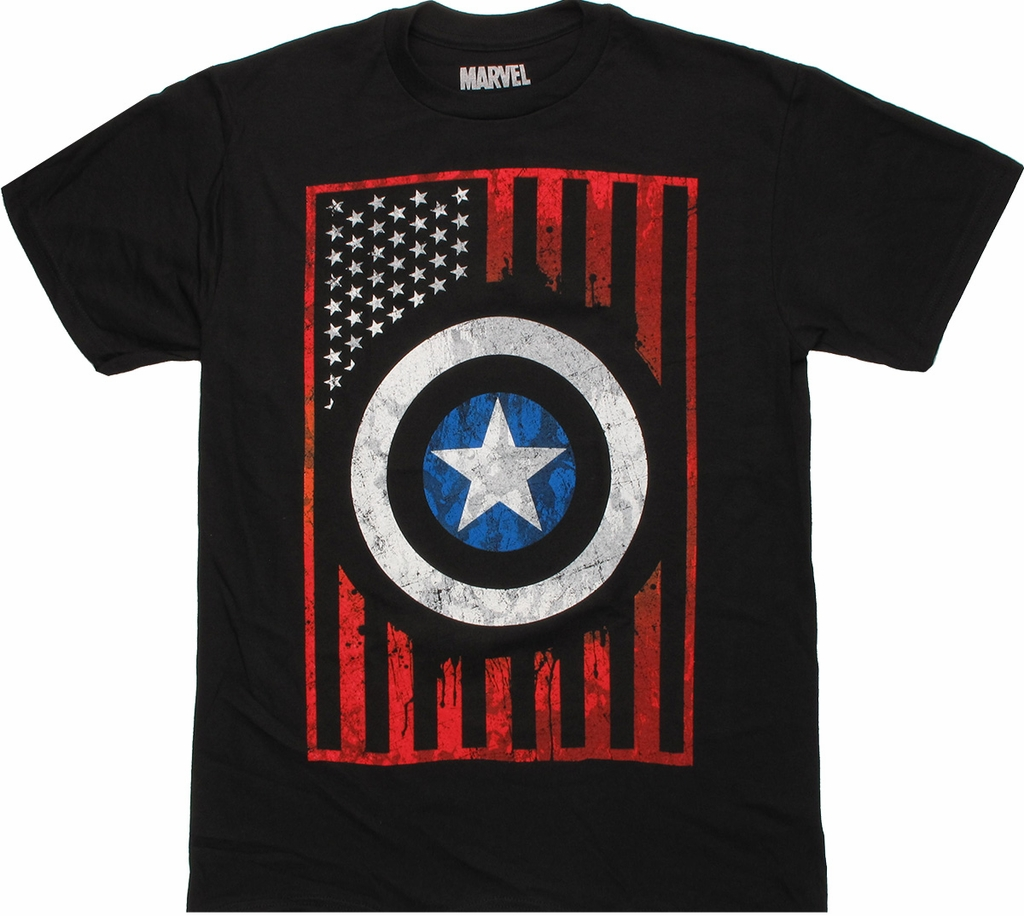 Captain America Shield Flag T Shirt