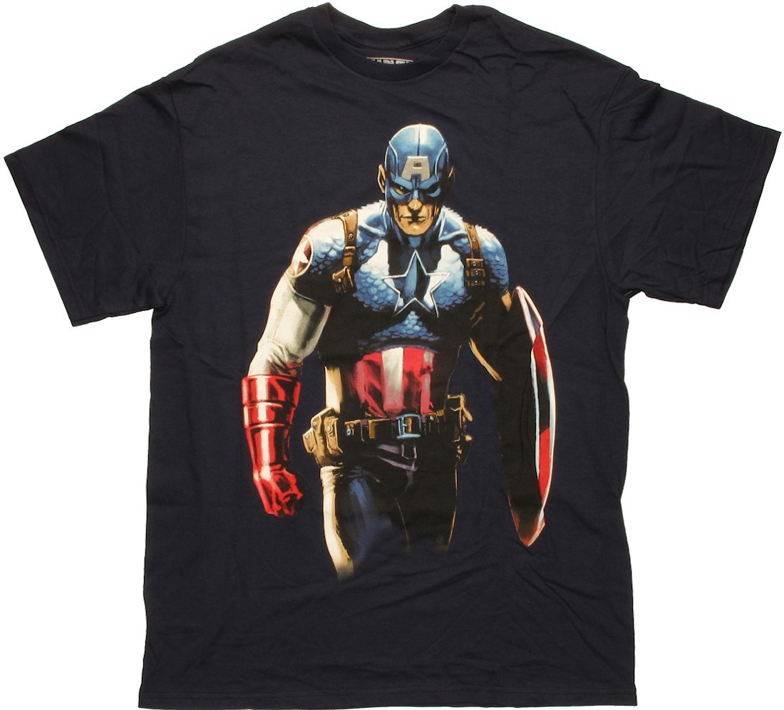 Captain America Stand Glare Navy T Shirt