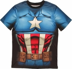Captain America Sublimated Costume T Shirt Sheer