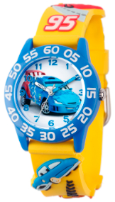 Cars Kids 3D Plastic Yellow Blue Watch