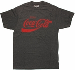 Coca-Cola Heather Charcoal Red Logo T Shirt Sheer