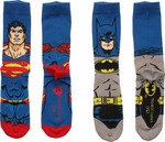 DC Comics Batman Superman Crew 2 Pair Socks Set