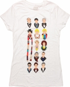 Doctor Who 13 Vector Heads White Baby Tee