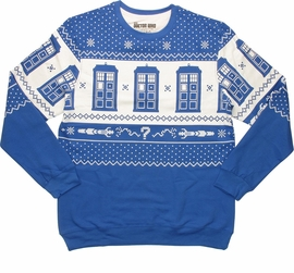 Doctor Who TARDIS Royal Blue Christmas Sweatshirt