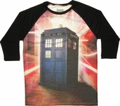 Doctor Who Warping TARDIS Sublimated Raglan T Shirt Sheer