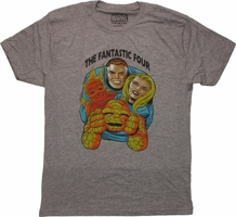 Fantastic Four Faces Gray T Shirt Sheer