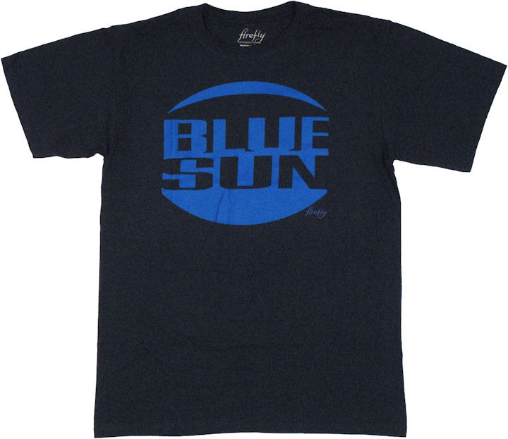 Screen-Accurate, Blue Sun-Approved. This Jayne Cobb replica shirt is the first and only screen-accurate rendition of the most famous Firefly T-shirt of them all: Blue Sun. Working closely with costume designer Shawna Trpcic, we have matched exactly the men's shirt worn by Jayne in the episode