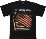 Flag USA Over Fence T Shirt