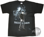 Freddy vs Jason Black and White T-Shirt