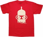 Futurama Bender Head Skyline T Shirt