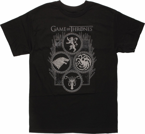 Game of Thrones Four Houses in Circles T-Shirt