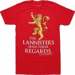 Game of Thrones Lion Lannister Regards T Shirt Sheer