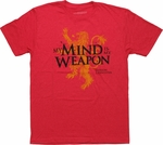 Game of Thrones Mind is My Weapon T Shirt Sheer