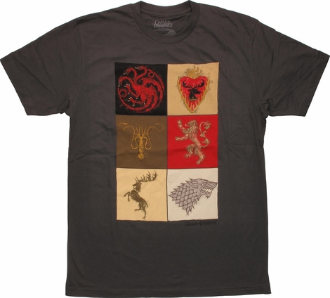 Game of Thrones Six House Crests Squares T-Shirt