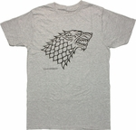 Game of Thrones Stark Direwolf Gray Heather T Shirt Sheer
