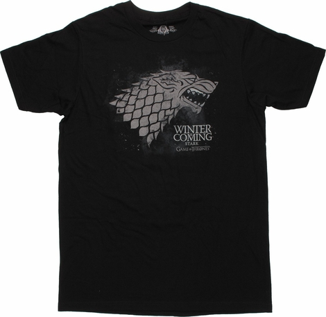 Game of Thrones Stark Distressed Wolf Black T Shirt Sheer