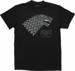 Game of Thrones Stark Gray Wolf Black T Shirt