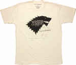 Game of Thrones Stark Winter Stencil Cream T Shirt