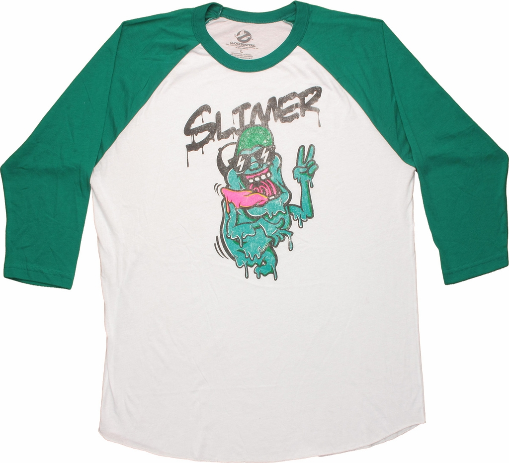 Ghostbusters Slimer Raglan T Shirt Sheer