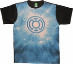 Green Lantern Blue Energy Logo Sublimated T Shirt Sheer