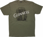 Guinness Pint Script Heather Olive T Shirt Sheer