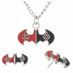 Harley Quinn Bats Necklace Earrings Jewelry Set
