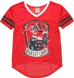 Harley Quinn V Neck Mesh Juniors T-Shirt