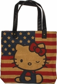 Hello Kitty Burlap Flag Tote Bag
